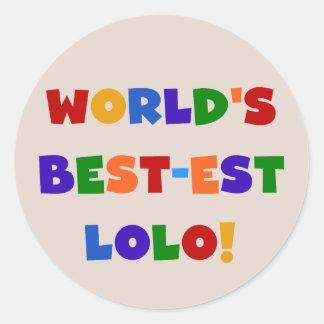 明るい色ベスト米国東部標準時刻LoloのTシャツおよびギフト ラウンドシール