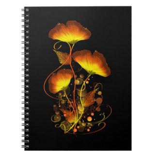 明るい花のノート ノートブック