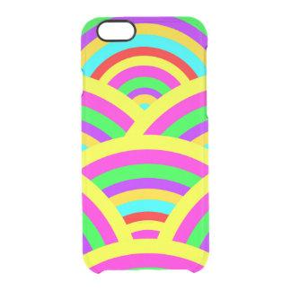 明るい虹のカラフルなアーチは縞で飾ります クリアiPhone 6/6Sケース