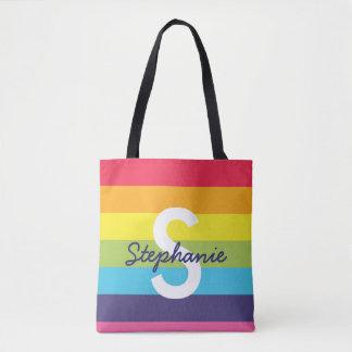 明るい虹のストライプのイニシャルの名前のトート トートバッグ