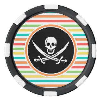 明るい虹の海賊旗は縞で飾ります ポーカーチップセット