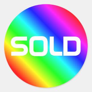 明るい虹の販売されるモダンではっきりしたなタイポグラフィのカスタム ラウンドシール