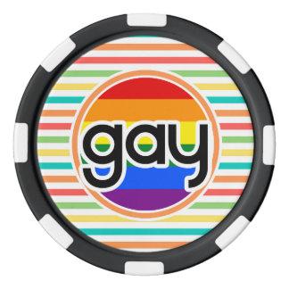 明るい虹は、ゲイ縞で飾ります ポーカーチップ