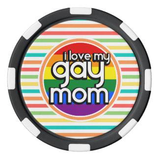 明るい虹は、陽気なお母さん縞で飾ります ポーカーチップ