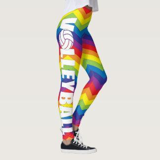 明るい虹色のバレーボールの圧縮のズボン レギンス
