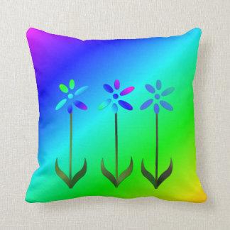 明るい虹3の花の装飾用クッション クッション