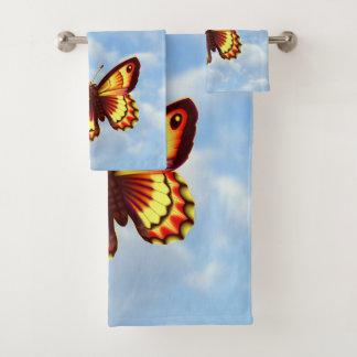 明るい蝶 バスタオルセット