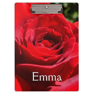 明るい赤いバラの花の美しい花柄 クリップボード
