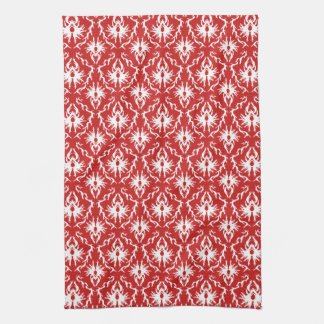明るい赤と白のダマスク織パターン キッチンタオル