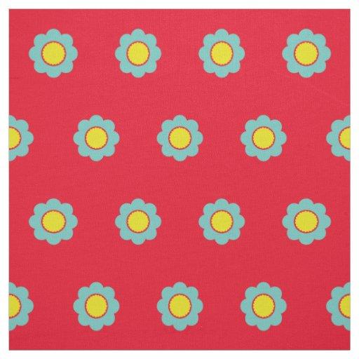 明るい赤の軽いティール(緑がかった色)そして黄色い花 ファブリック