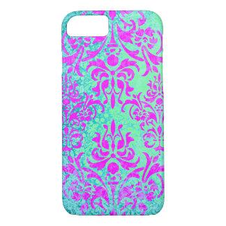 明るい赤紫色およびターコイズのグランジなヴィンテージのダマスク織 iPhone 8/7ケース