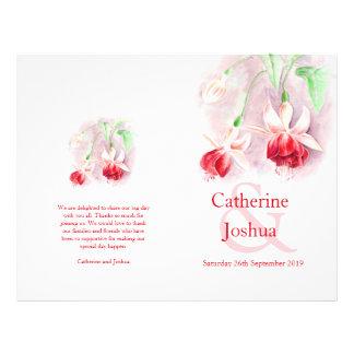 明るい赤紫色|水彩画|赤い|ピンク|結婚|プログラム チラシ広告デザイン