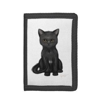 明るい金目を持つ甘く黒い子猫猫 ナイロン三つ折りウォレット