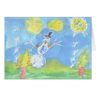 """明るい雪だるま- """"幸せな休日"""" カード"""