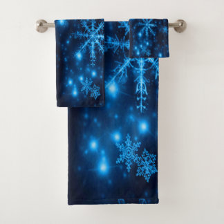 明るい雪片タオルセットが付いている深い青 バスタオルセット