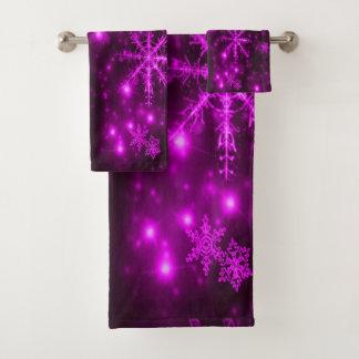 明るい雪片タオルセットと濃紫色 バスタオルセット
