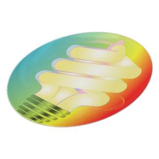 明るい電球のプレート プレート