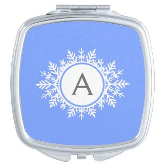 明るい青の華美で白い雪片のモノグラム