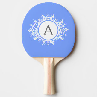 明るい青の華美で白い雪片のモノグラム 卓球ラケット