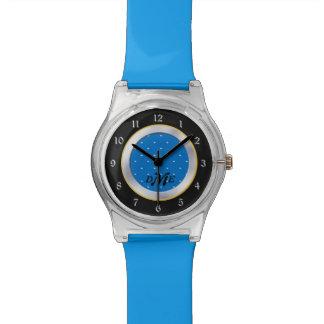 明るい青はモノグラムに点を打ちます 腕時計