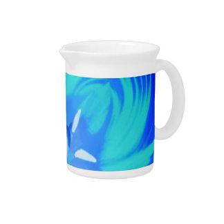 明るい青チューリップの水差し ピッチャー