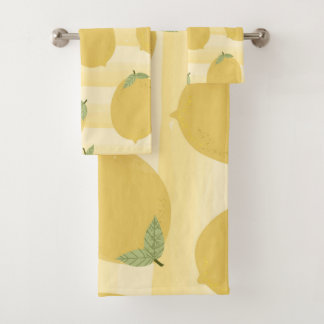 明るい黄色いレモン夏のフルーツの水彩画のおもしろい バスタオルセット
