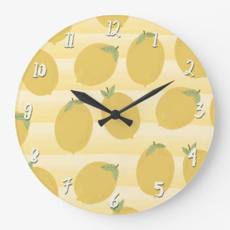 明るい黄色いレモン夏のフルーツの水彩画のおもしろい ラージ壁時計