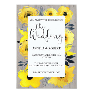 明るい黄色によっては結婚式招待状が開花します カード