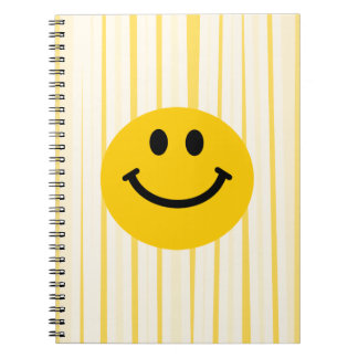 明るい黄色のストライブ柄のスマイリーフェイス ノートブック