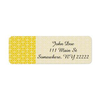 明るい黄色のピースサイン ラベル