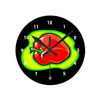 明るい黄色緑のコショウのhabanero ラウンド壁時計
