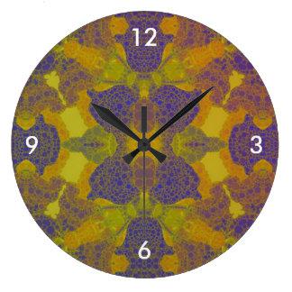 明るい黄色緑の抽象芸術 ラージ壁時計