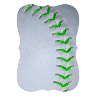明るい|緑|ステッチ|野球|/|ソフトボール 招待状