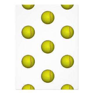 明るい 黄色 ソフトボール パターン オリジナル招待状