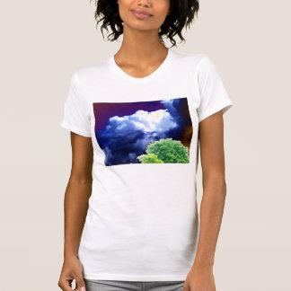 明るいBlue&Whiteの積雲のcongestusの濃紺の&Brow Tシャツ