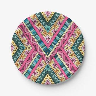 明るいBohoのカラフルの抽象芸術の種族パターン ペーパープレート