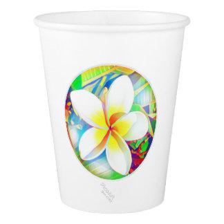 明るいfrangipaniの円形浮彫り 紙コップ