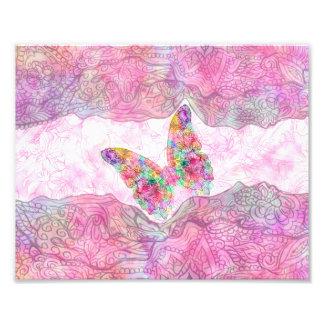 明るくお洒落なピンクの水彩画のペイズリーの蝶 フォトプリント