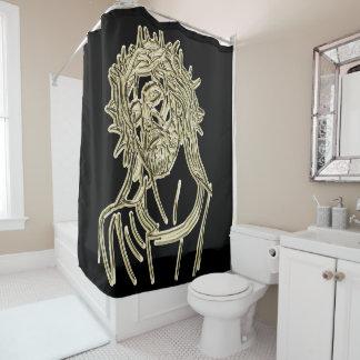 明るくかすかに光っている神尊敬している金ゴールドイエス・キリスト シャワーカーテン