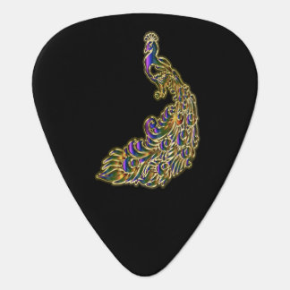 明るくかすかに光る金ゴールドおよび紫色の孔雀 ギターピック
