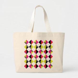 明るくカラフルでモダンで幾何学的なダイヤモンドパターン ラージトートバッグ
