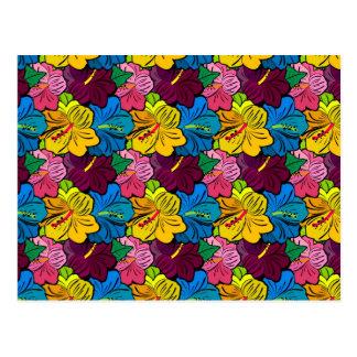 明るくカラフルなハイビスカスの花 ポストカード