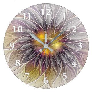 明るくカラフルな花、抽象的でモダンなフラクタル ラージ壁時計