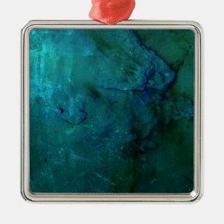 明るくカラフルな青緑の抽象芸術のグランジなデザイン メタルオーナメント