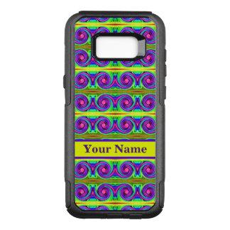 明るく多彩で黄色い紫色はパターンをカールします オッターボックスコミューターSamsung GALAXY S8+ ケース