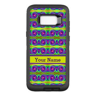 明るく多彩で黄色い紫色はパターンをカールします オッターボックスディフェンダーSamsung GALAXY S8+ ケース