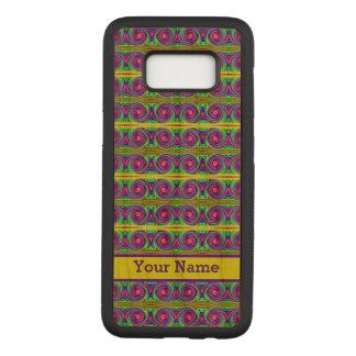 明るく多彩で黄色い紫色はパターンをカールします CARVED SAMSUNG GALAXY S8 ケース