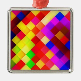明るく多彩な正方形 メタルオーナメント