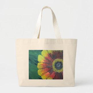 明るく大きい花のデザイン ラージトートバッグ