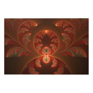 明るく抽象的でモダンなオレンジ赤のフラクタル ウッドウォールアート
